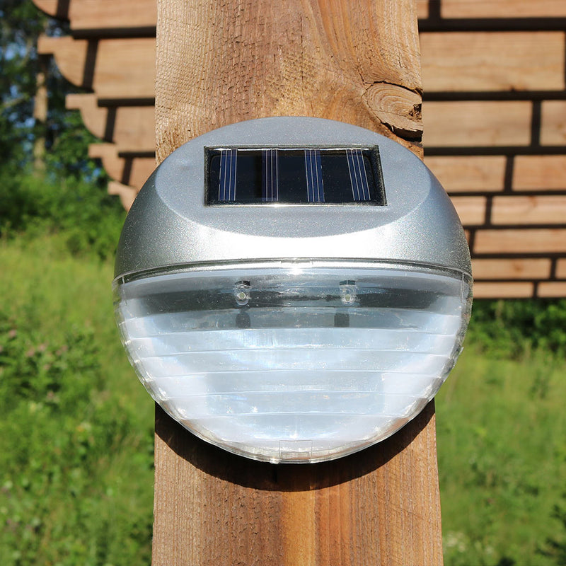 Sunnydaze Round Solar Mounted LED Fence, Patio, Deck or Walkway Lights - Set of 6