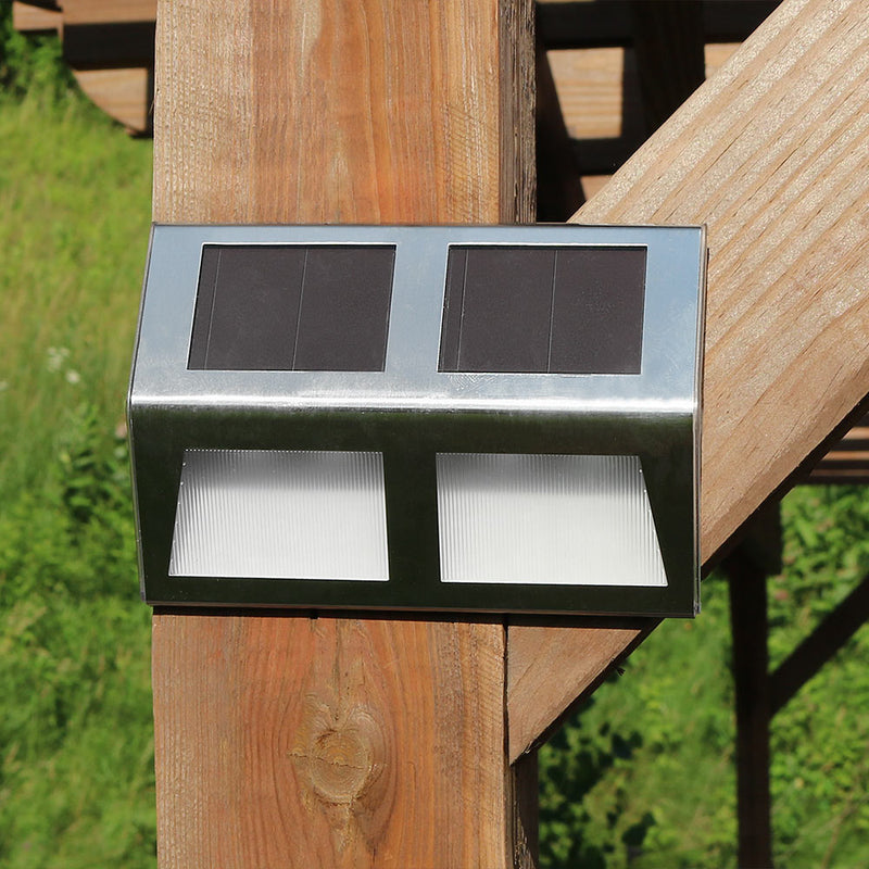 Sunnydaze Stainless Steel Solar Security Mounted LED Lights for Stairway, Paths and Fences - Set of 6