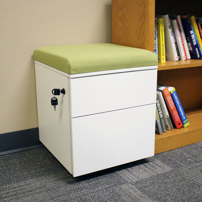 CASL Brands Rolling Steel 2-Drawer Wheeled Mobile Pedestal Storage Cabinet with Lock and Cushion for Home or Office