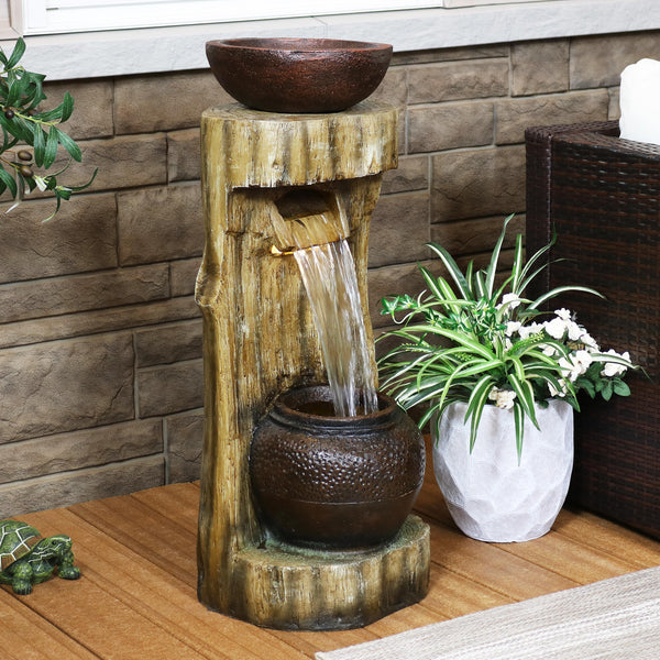 Sunnydaze Cascading Tree Stump Water Fountain with LEDs and Planter - 35-Inch