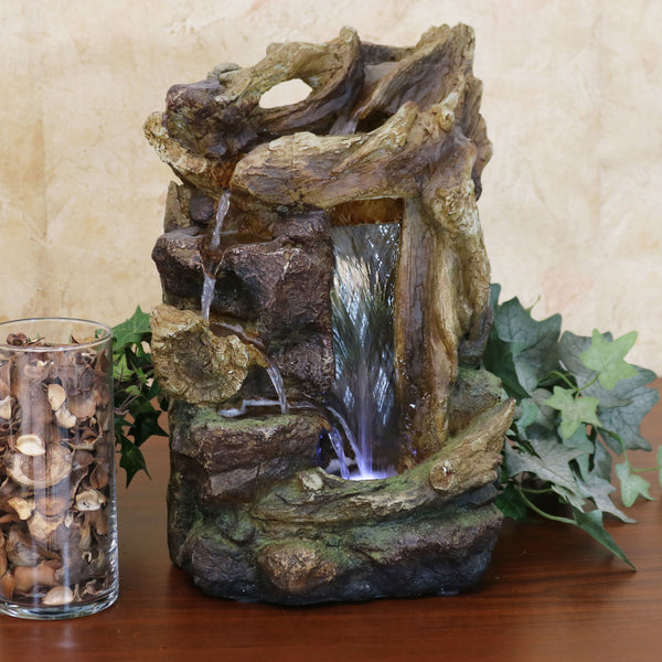 Sunnydaze Rocky Driftwood Indoor Tabletop Water Fountain with LED Light, 15-Inch