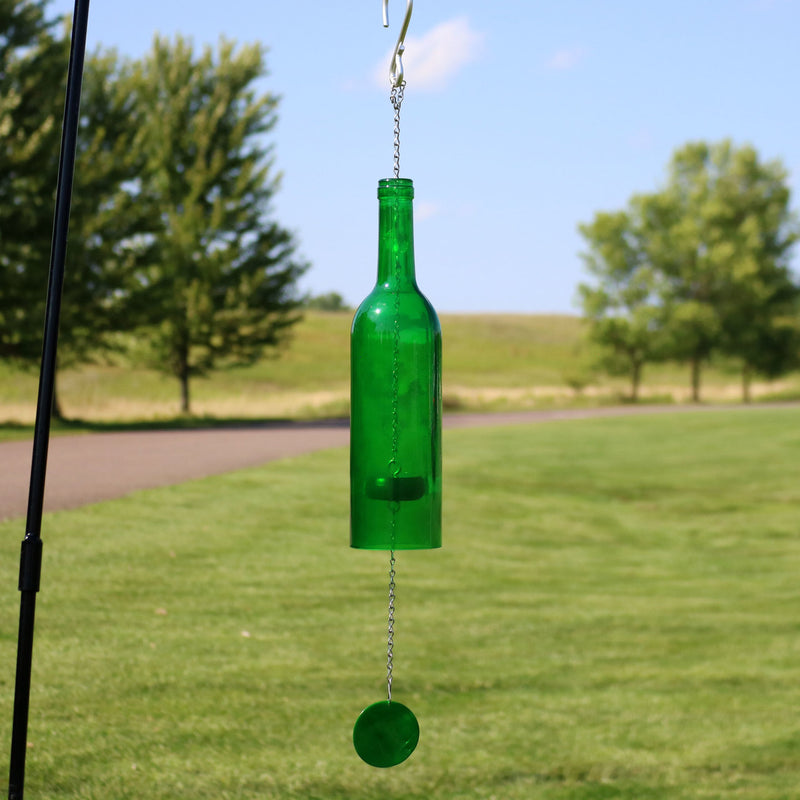 Sunnydaze Glass Wine Bottle Wind Chime, 25-Inch Tall, Multiple Color Options Available