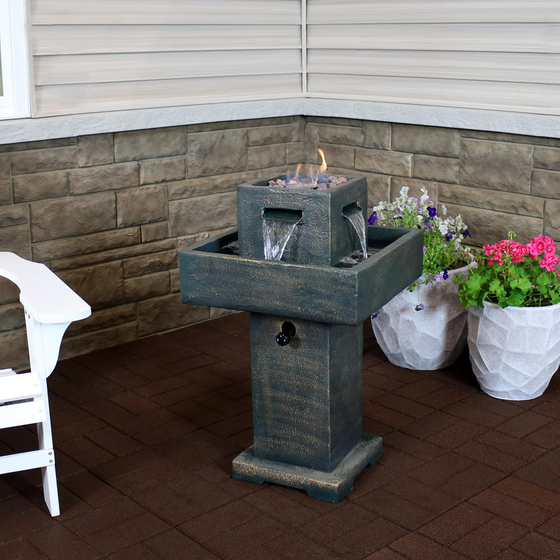 Outdoor fire water fountain displayed on the patio.