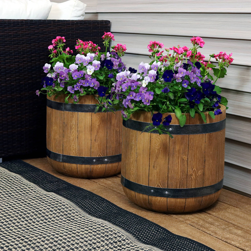 Sunnydaze Vineyard Fiber Clay Classic Barrel Planter Flower Pot, Durable Indoor/Outdoor Sets