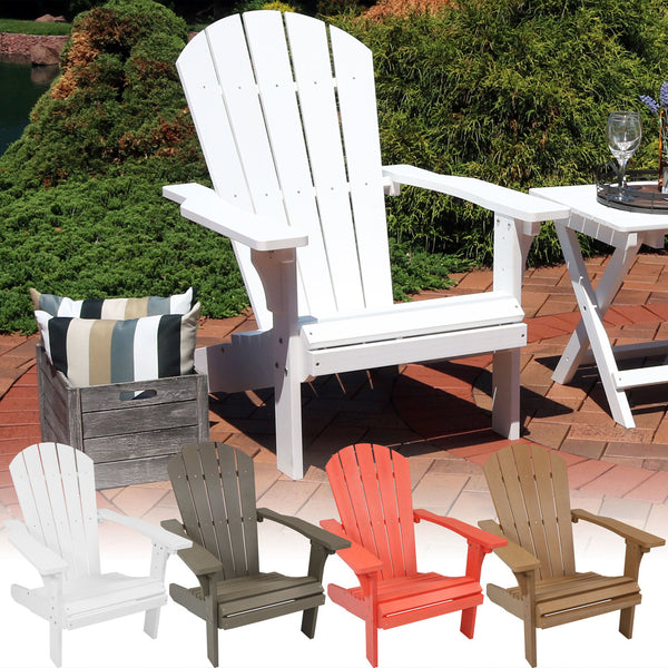 Sunnydaze All-Weather Adirondack Patio Chair with Faux Wood Design