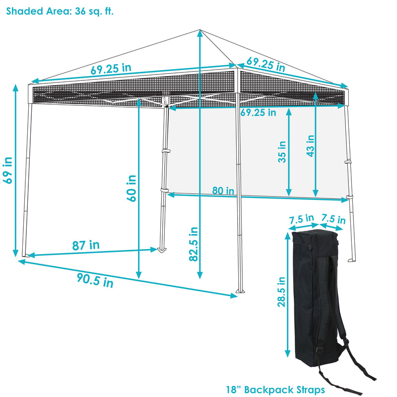 Sunnydaze 6 x 6 Foot Top/7.5 x 7.5 Foot Bottom Slant Leg Portable Backpack Canopy - Multiple Colors