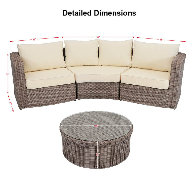 Sunnydaze Mollendo Wicker Rattan 4-Piece Sofa Sectional Patio Furniture Set with Beige Cushions