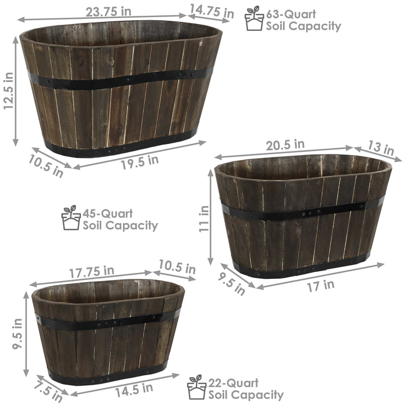 Sunnydaze Oval Outdoor Acacia Wooden Barrel Planters - Set of 3