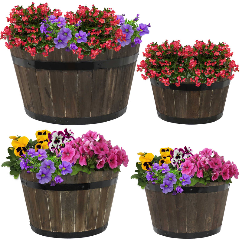 Sunnydaze Round Outdoor Acacia Wood Barrel Planters - Set of 4