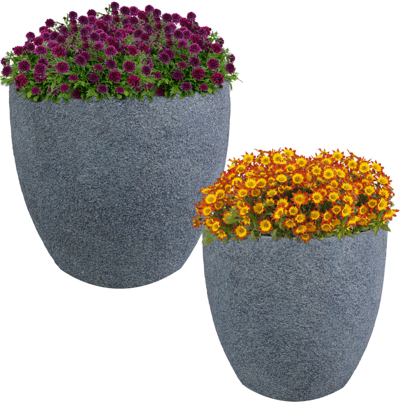 Sunnydaze Estate Fiber Clay Planter Flower Pot, Durable Indoor/Outdoor Sets, Gray Sandstone