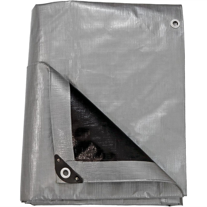 Sunnydaze Heavy-Duty Multi-Purpose Waterproof Gray-Black Tarp, Available in Multiple Sizes
