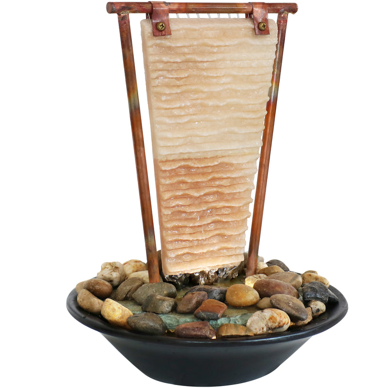 Sunnydaze Ridged Slate Tabletop Water Fountain with Light - 16-Inch