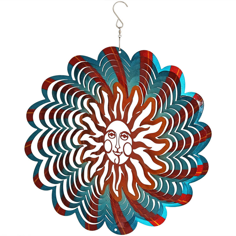 Sunnydaze 3D Multi-Color Sun Wind Spinner with Hook, 12-Inch