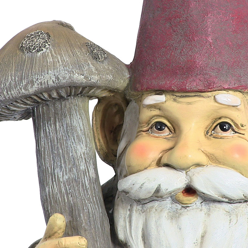 Marty the Mushroom Gnome, 20 Inch Tall by Sunnydaze Decor