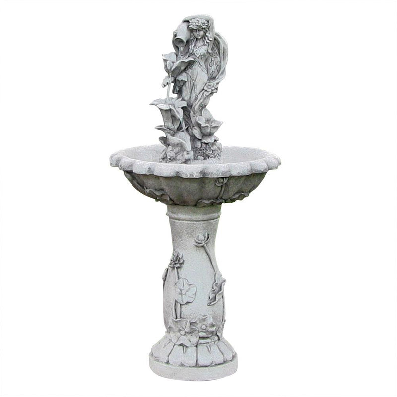 "Sunnydaze Fairy Flower Solar Outdoor Water Fountain with Battery Backup 42.5"" Tall"