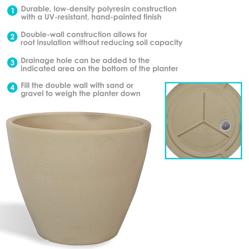Sunnydaze Catherine Outdoor/Indoor Planter Pot, Heavy-Duty Double-Walled Polyresin with UV-Resistant Antique White Finish, Multiple Options Available