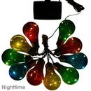 Sunnydaze Solar LED Outdoor String Lights with 10 Multi-Color Light Bulbs, 16-Foot Length