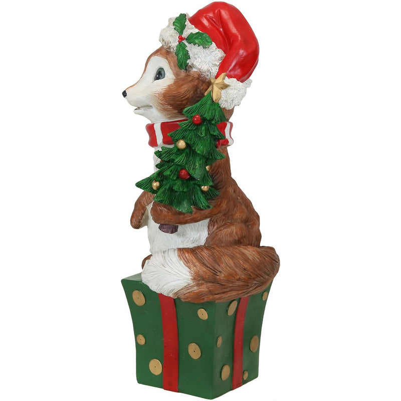 Sunnydaze Felix the Christmas Fox Indoor/Outdoor Christmas Decor, Polyresin, 24-Inch