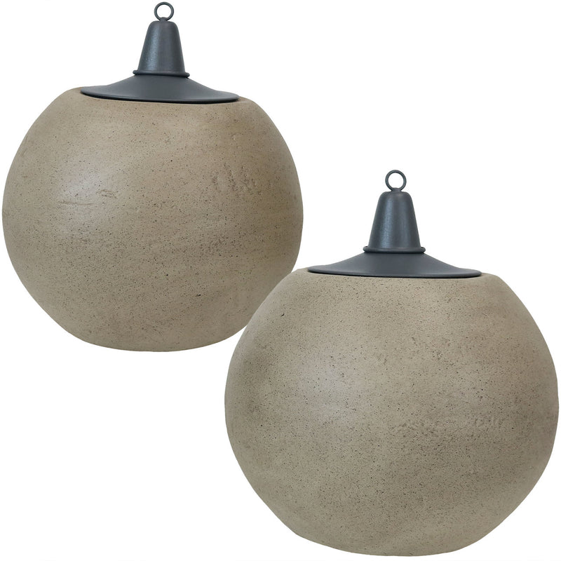 Sunnydaze Set of 2 Stone-Look Ball Outdoor Citronella Tabletop Torch, 7-Inch Diameter