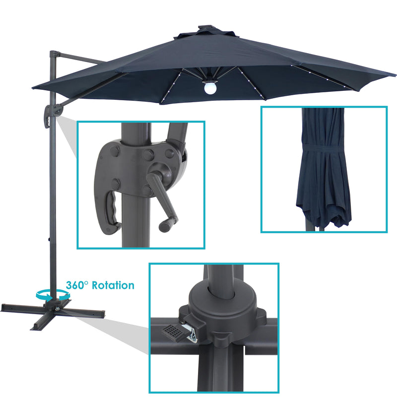 Sunnydaze Offset Outdoor Patio Umbrella with 360-Degree Rotation and Solar LED Lights - 9-Foot