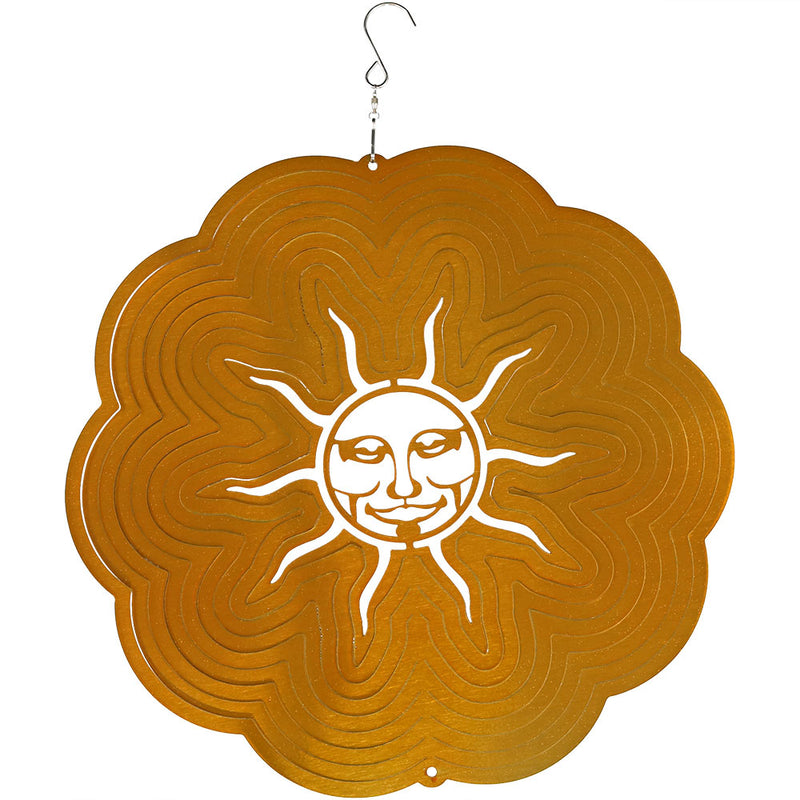 Sunnydaze 3D Sun Wind Spinner with Hook, 12-Inch