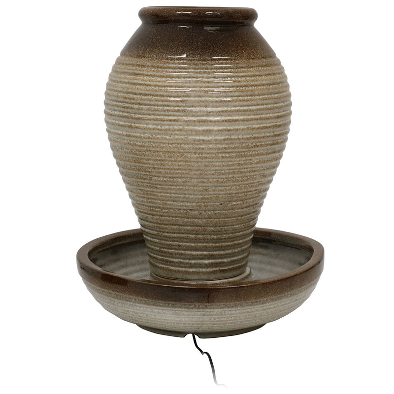 Sunnydaze Bubbling Pottery Vase Ceramic Outdoor Water Fountain with LED Lights, 26-Inch