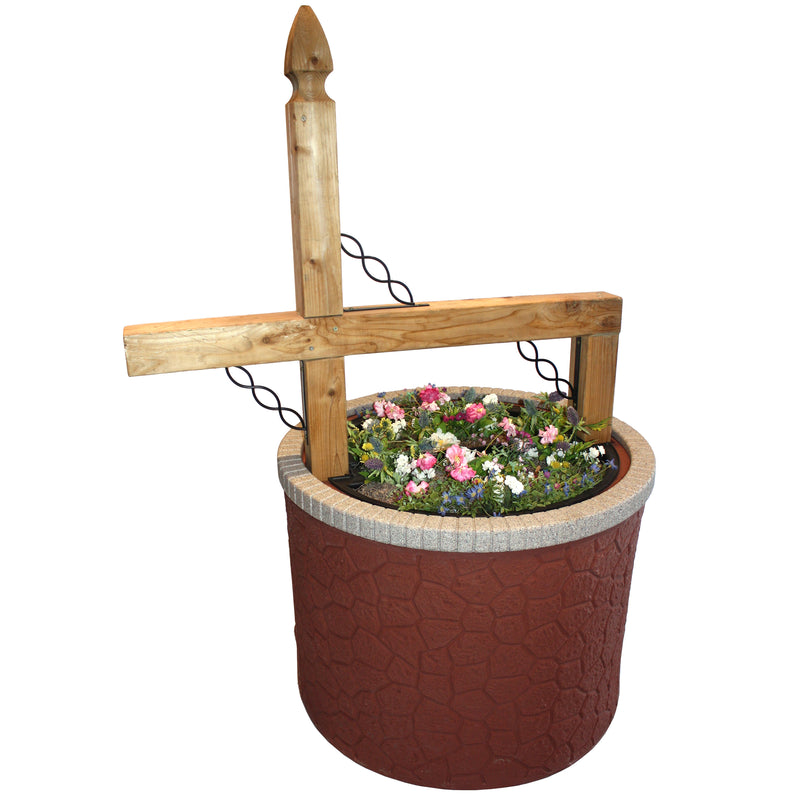 TankTop Covers Mailbox Post Planter Kit, Decorative 35-Inch Round Base Flowerbed