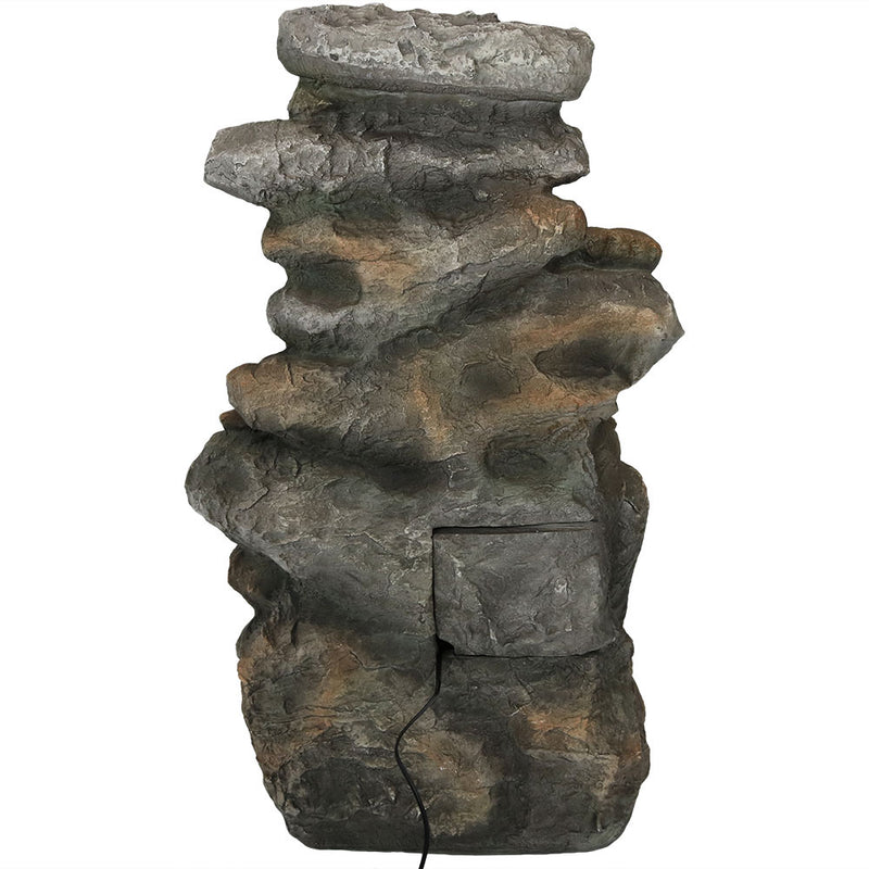 Sunnydaze Rock Falls Outdoor Waterfall Fountain with LED Lights, 34 Inch Tall