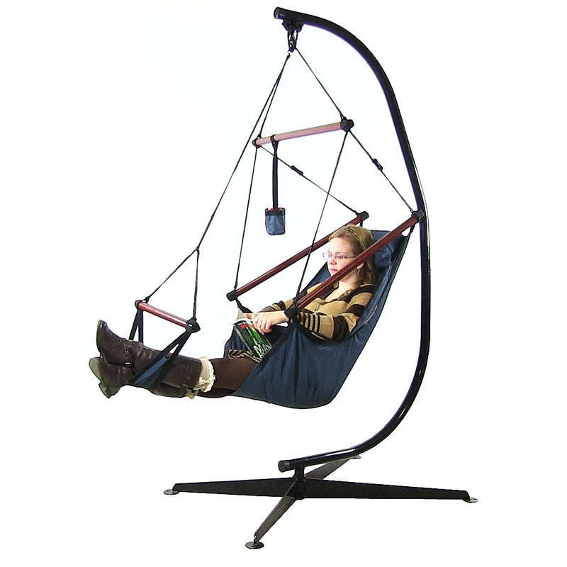 Sunnydaze Deluxe Hanging Hammock Air Chair with Pillow, Drink Holder, and C-Stand, Solid Wood Bars, 24 Inch Seat