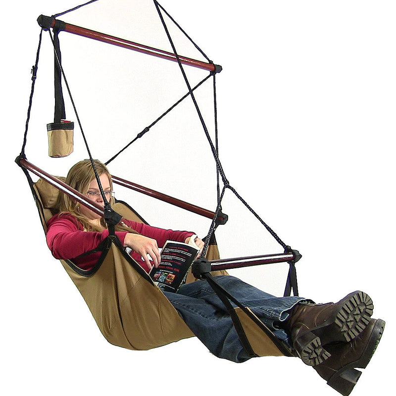 Sunnydaze Deluxe Hanging Hammock Air Chair with Pillow and Drink Holder, Solid Wood Bars, 24 Inch Seat