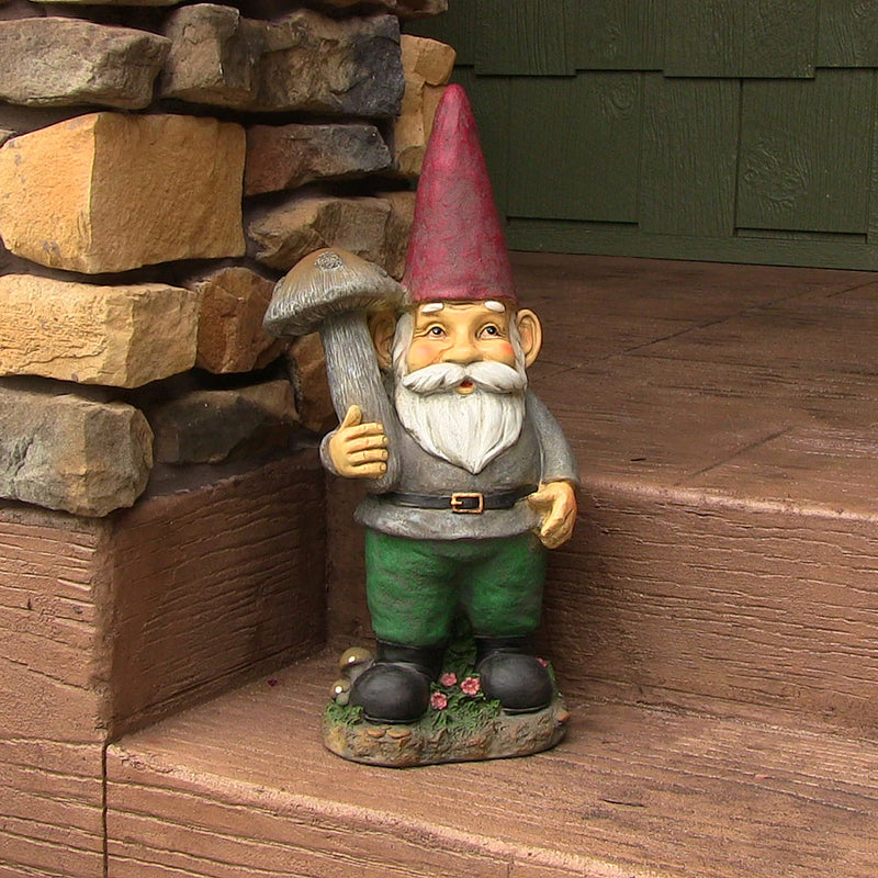 Large garden gnome displayed on the front porch.