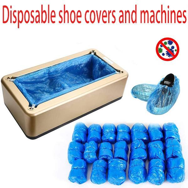 Disposable shoe covers and machines, one size, 100 pcs plastic shoes cover