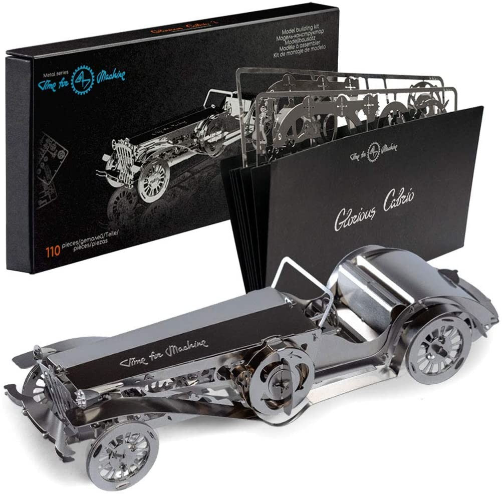 Kit Puzzle Mecanic 3D, Metal, TimeForMachine, Model Masina Epoca Glorious Cabrio 2