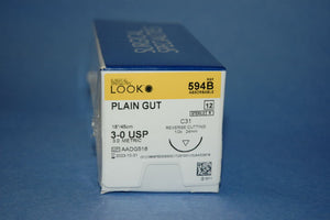 Look Plain Gut Sutures Absorbable  Cuticular Reverse Cutting, 12/Box