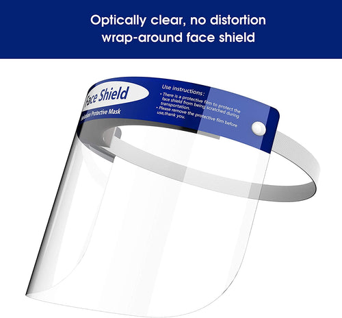 Full Face Shield 10/Pk PPE Protective Clear Film Elastic Band and Comfort Sponge