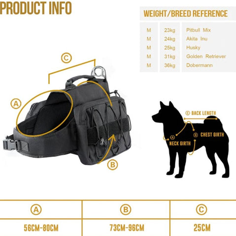 size chart for dog pack harness