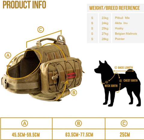 dog harness size chart