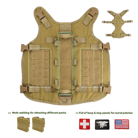 Military adjustable large dog harness with a places for patches