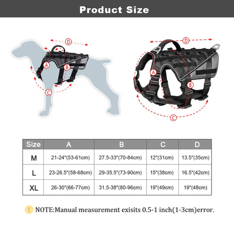 Military large breed dog reflective harness size chart