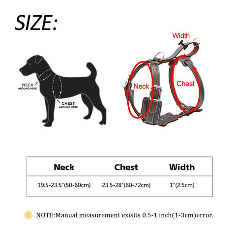 leather dog harness size chart