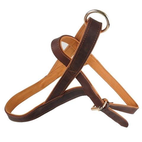Leather quick control dog harness