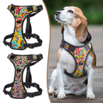 No Pull colorful and reflective dog harness in two color pattern