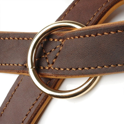 hand stitching on leather quick control dog harness