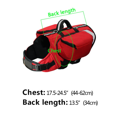 Large dog breed back pack harness size chart