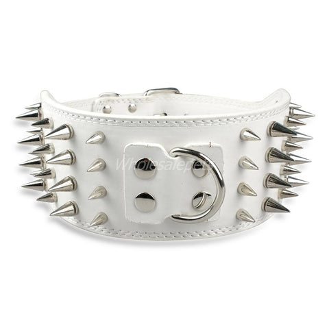3 inch wide Bully spike leather collar white