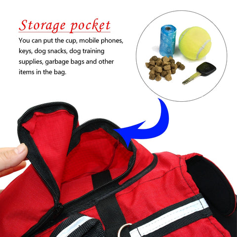 Large dog breed back pack harness storage space