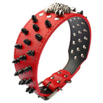 2 inches wide spiked studded PU Leather Bully collar red