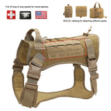 Tactical large dog breed harness with a place for your patches
