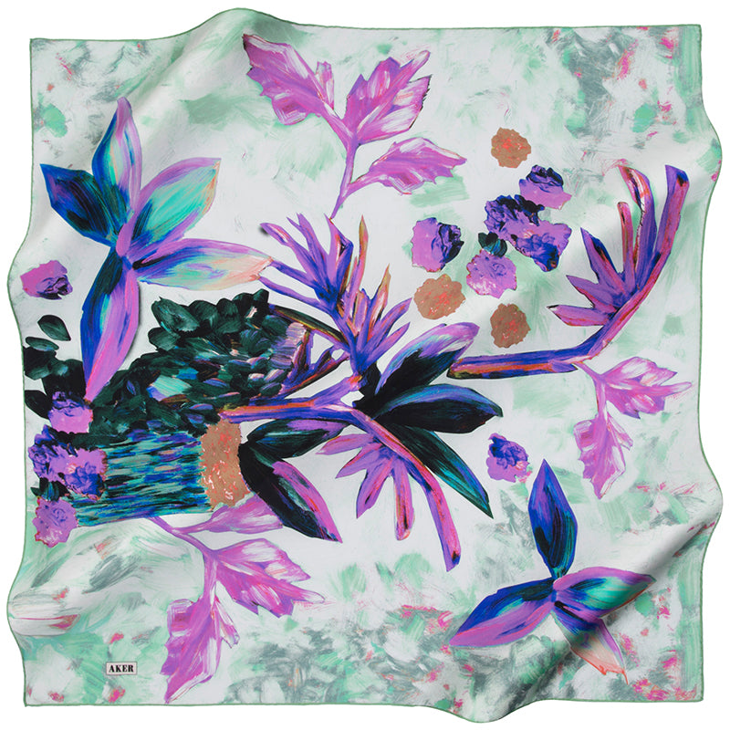 Aker Tropical Floral Silk Hair Wrap