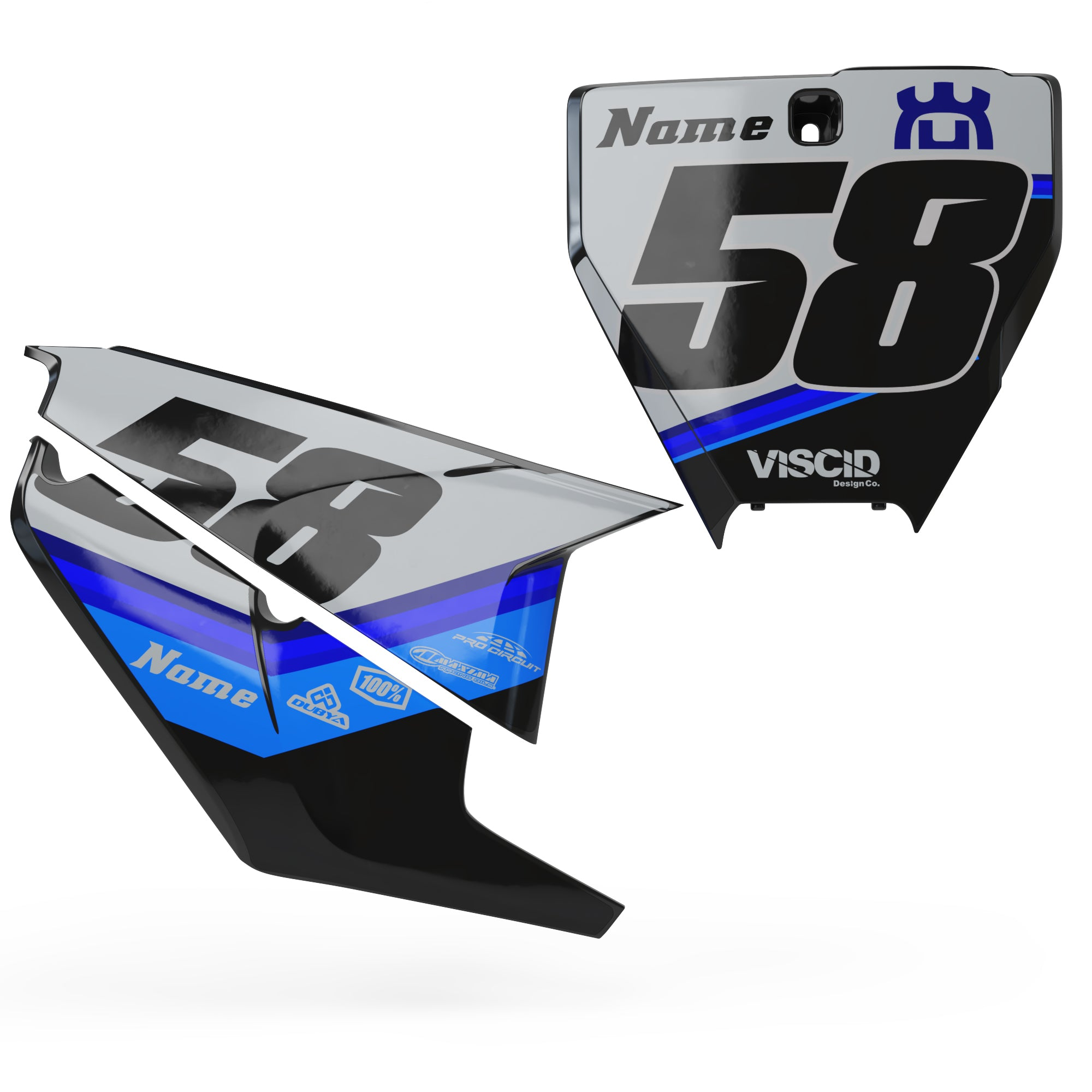 Husqvarna Number plate set -  Chopped Series